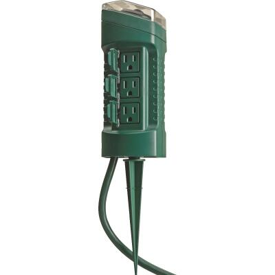 Woods 15A 125V 1875W Green Outdoor Timer Power Stake