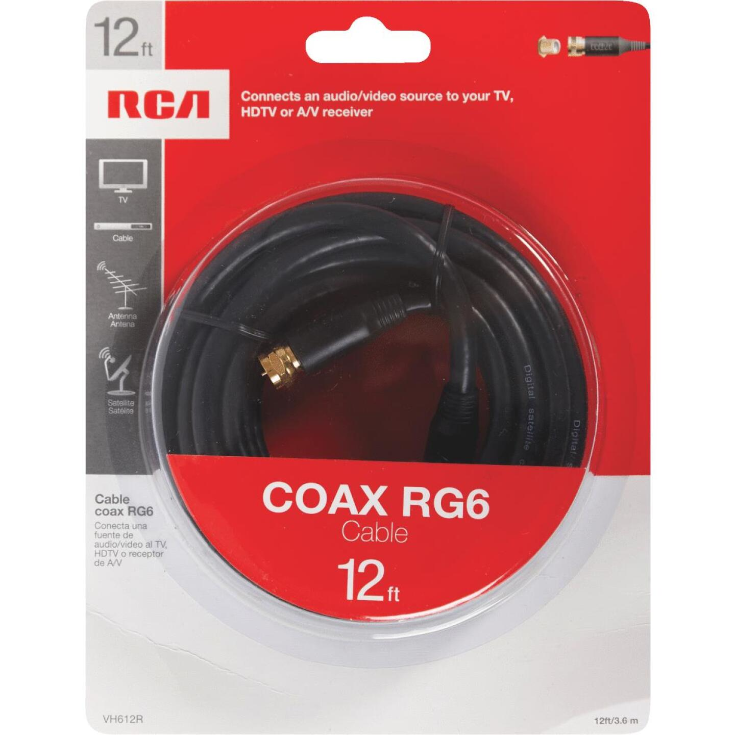RCA 12 Ft. Black Digital RG6 Coaxial Cable Image 3