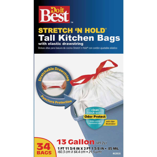 Do it Best Stretch 'N Hold 13 Gal. Drawstring Tall Kitchen Trash Bag (34-Count)