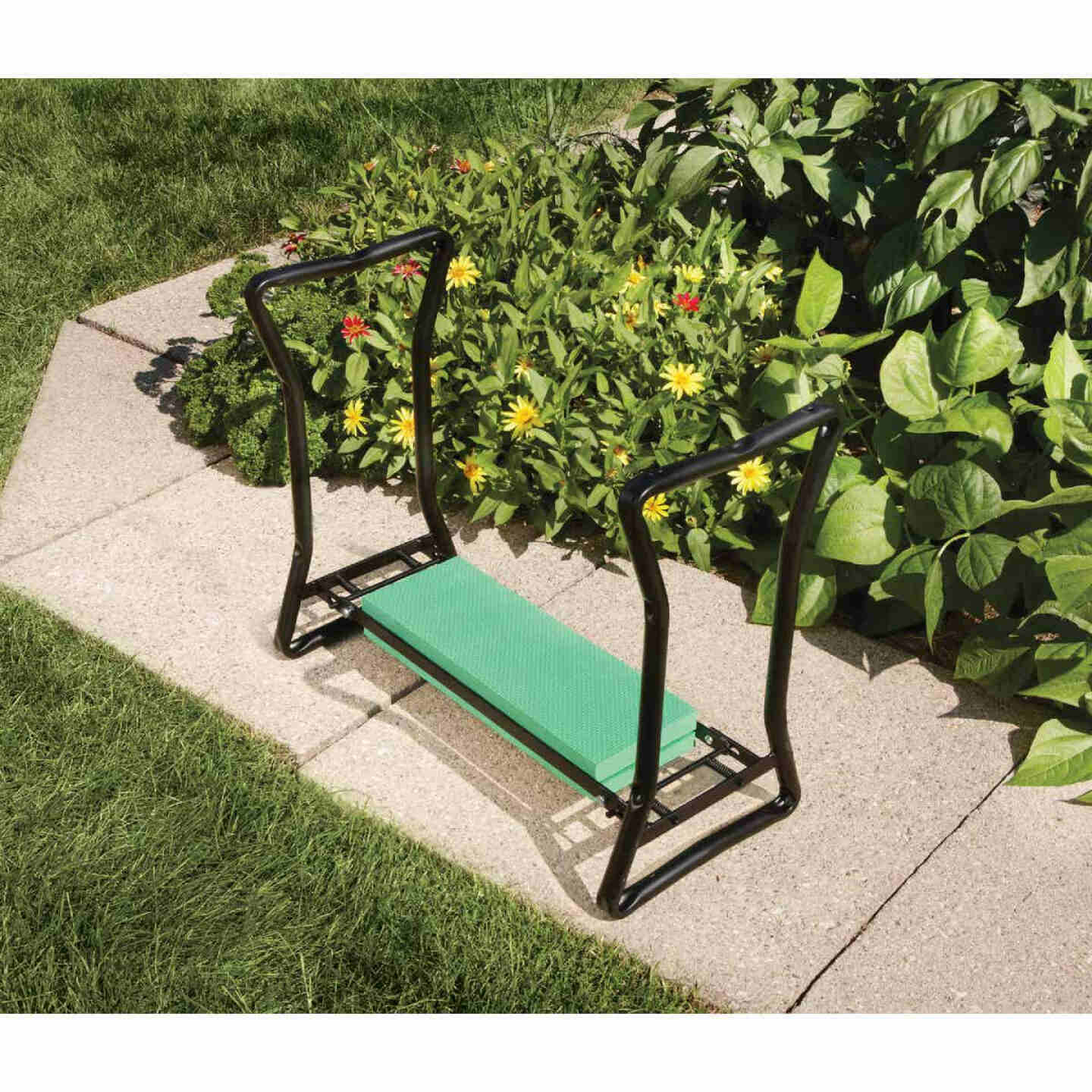 Best Garden Green Foam Pad w/Black Steel Frame Garden Kneeler Bench Image 12