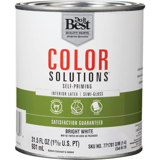 Do it Best Color Solutions Latex Self-Priming Semi-Gloss Interior Wall Paint, Bright White, 1 Qt.